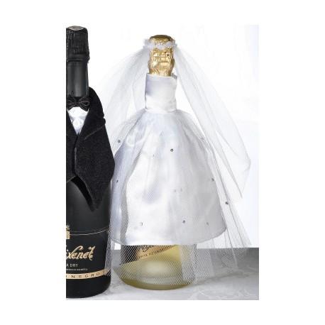 Cover per bottiglia di vino a forma di vestito da sposa