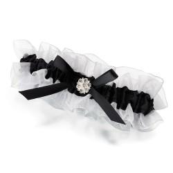 Giarrettiera da sposa in raso nero con strass