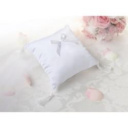 Cuscino bianco satinato per anelli