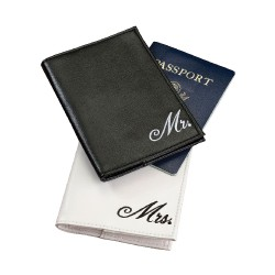 Cover per passaporto con scritta Mr o Mrs