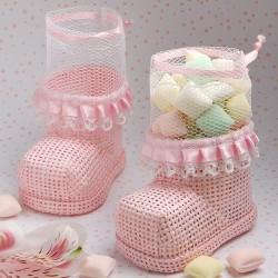 Porta caramelle a forma di stivaletti rosa
