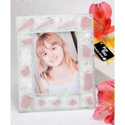 Cornice per foto bianca e rosa in vetro di Murano