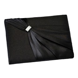 Libro degli ospiti in raso nero con strass