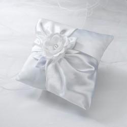 Cuscino con rosa bianca