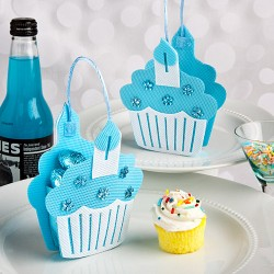 Sacchetti portadolci a forma di cupcake blu