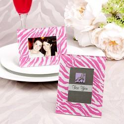 Cornice rosa zebrata portafoto o segnaposto