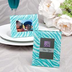 Cornice zebrata portafoto o segnaposto di colore acquamarina