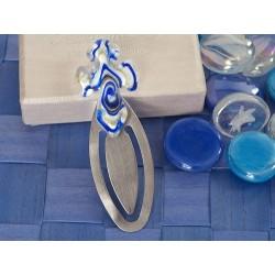 Segnalibro a forma di croce blu e bianca dell'Art Deco di Murano