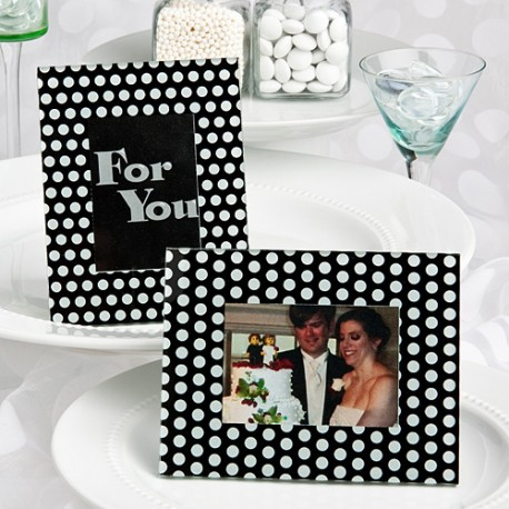 Black And White Polka Dot Photo Frame Place Card Holders
