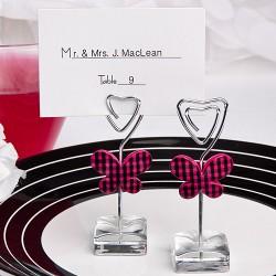 Segnaposto e segnatavolo design farfalla nera e rosa