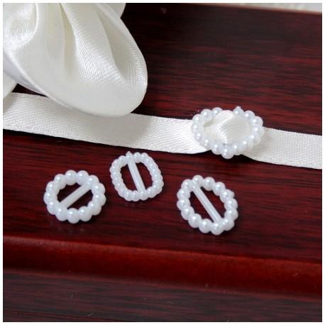 12 piccoli ornamenti rotondi di perle di avorio di plastica per nastri