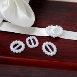 12 piccoli ornamenti rettangolari di perle di avorio di plastica per nastri