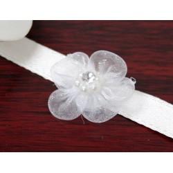 Fiore in organza di abbellimento di colore bianco 12 pezzi
