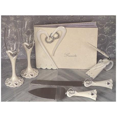 Set ricevimento nuziale con dettagli in avorio 6 pezzi