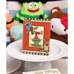 Cornice portafoto o portacard con scimmia con calzini