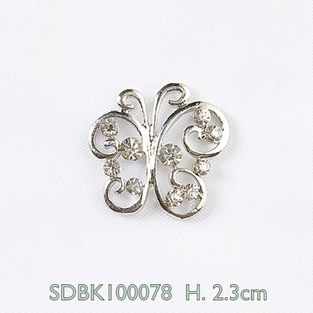 Farfalla argentata con pietre