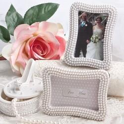 Cornice portafoto o segnaposto con perle