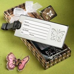 Etichetta per valigia con farfalla