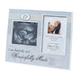 Portafoto azzurro a tema nascita bambino