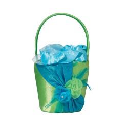Cestino di fiori blu e verde