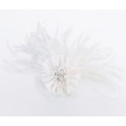 Clip per capelli con fiore e piume bianche