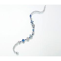 Cavigliera argentata con strass e cristalli azzurri