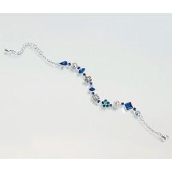 Cavigliera argentata con strass e cristalli blu