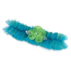 Giarrettiera blu con fiore verde