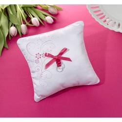 Cuscino rosa porta fedi a tema floreale
