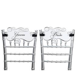 Cartellini da sedia per lo sposo e la sposa