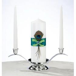 Set di candele con piume di pavone