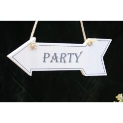 Segnale a forma di freccia con scritta party