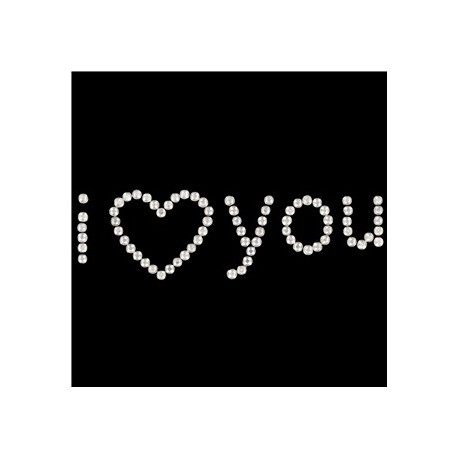 Sticker I love you con strass argentati