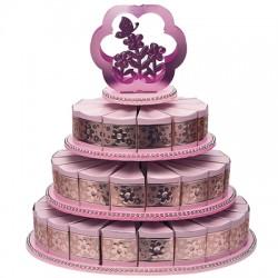 Alzata per torta a tre piani rosa