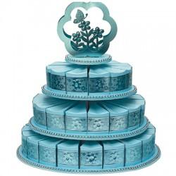 Alzata per torta a tre piani blu