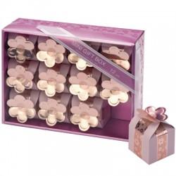 Scatoline rosa con fiore set 12 pezzi