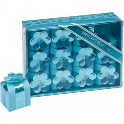 Scatoline azzurre con fiore set 12 pezzi