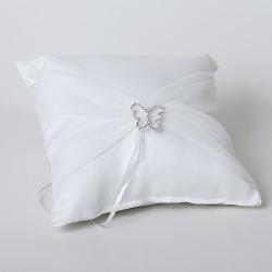 Cuscino portafedi bianco con fibbia a forma di farfalla