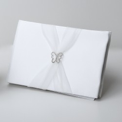 Guestbook in organza bianco con farfalla