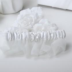 Giarrettiera di raso bianca con farfalla