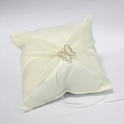 Cuscino portafedi avorio con fibbia a forma di farfalla