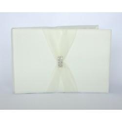 Libro degli ospiti color avorio con strass