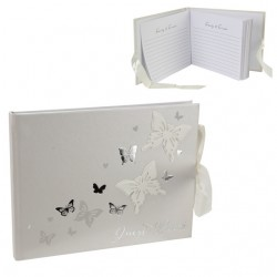 Guestbook bianco con farfalle argentate