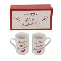 Set di due tazze per anniversario 40 anni di matrimonio