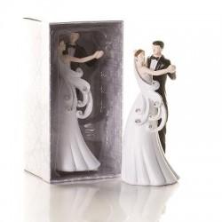 Cake topper sposa e sposo abbracciati