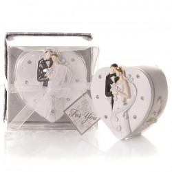 Elegante scatola portagioielli per sposa e sposo