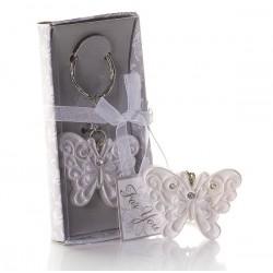 Portachiavi con farfalla bianco perlato