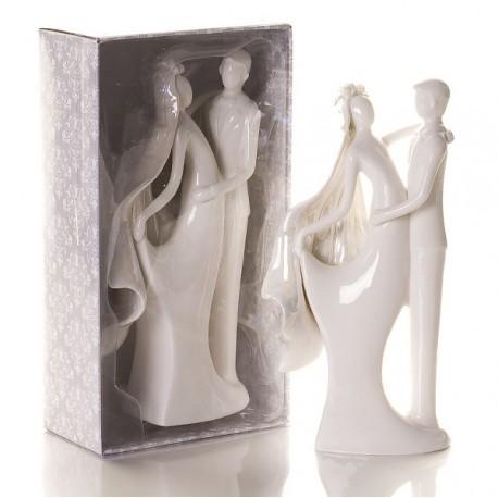 Cake Topper in porcellana con sposo e sposa
