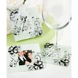 Sottobicchiere in vetro a motivo floreale e foto centrale set 2 pezzi
