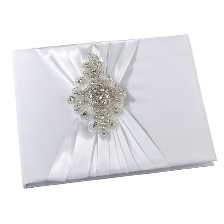 Guestbook bianco di raso con gioiello